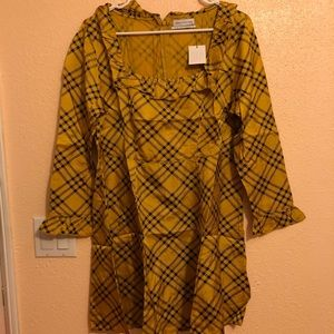 New Urban Outfitters Yellow Silky Plaid Dress XL